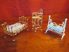 Miniature doll furniture.Includes bed, rocking crib and high chair metal frames
