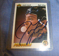 1991-92 (PENGUINS) Upper Deck #447 Jamie Leach SIGNED AUTOGRAPGH    /a5