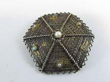 VINTAGE OLD Yemen/ Jemen RARE Silver Gilded Filigree JEWELED Brooch