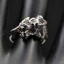 Solid 14k 585 White Gold Natural Diamond Fashion Animal Ring