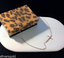 Cross Necklace-14 KT Rose Gold Plated Solid Sterling Silver-CZ-Sideways-Chain