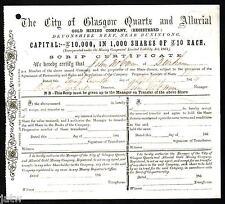 Share Scrip - Gold Mining 1864 City of Glasgow Quartz & Alluvial. Buninyong Vic