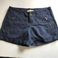 Old Navy Linen Blend Dark Blue Shorts Sz 2 A1692