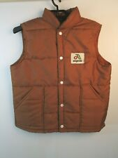 Vintage 70s 80s Asgrow Seed USA Puffer Vest Swingster Jacket Copper Brown Med