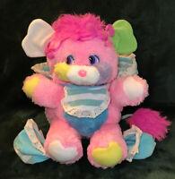 "Vintage 1986 Popples Mattel Baby Cribsy 12"" Pink Plush Stuffed Toy Bib & Booties"