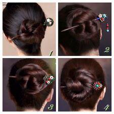 Women-Vintage-Wooden-Hair-Stick-Pin-Handmade-Rhinestone-Flower-Wood 1 Piece