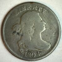 1804 Draped Bust Copper Half Cent US Type Coin VG C6 Variety Rare Crosslet 4 Stm