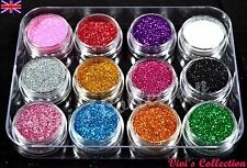 12 Colours Glitter Dust Powder Pots Set Nail Art Tips Decoration / Crafts / DIY