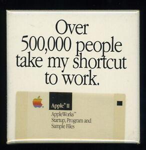 Vintage Scarce 1980s Apple II AppleWorks Computer Square Pinback Advertising