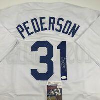 Autographed/Signed JOC PEDERSON Los Angeles LA White Baseball Jersey JSA COA