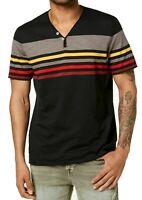 INC Mens T-Shirt Red Black Gray Size 3XL Big & Tall Striped V Neck Tee 349