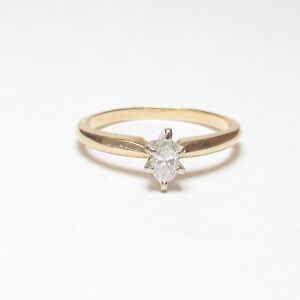 Estate 14K Yellow And White Gold 0.20 Ct Marquise Cut Diamond Solitaire Ring