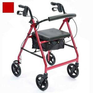 Days 4 wheel rollator with seat Adjustable Height Red