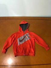 Boys Kids Nike Orange Solid Hooded Sweater Hoodie Size 7 Cotton