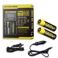 Nitecore Digi Charger D2 w/2x NL183 2300mAh 18650 Batteries +Car & Wall Adaptor