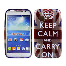 TPU Case Samsung Galaxy Young 2 Schutzhülle Tasche Keep Calm and Carry On GB UK