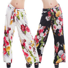 Pantaloni donna palazzo ampi fiori fantasia floreale cinta eleganti sexy VB-1088
