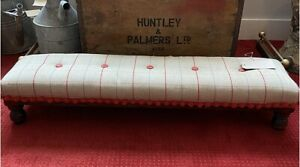 Victorian Very Long Footstool Fireside Stool Newly Upholstered