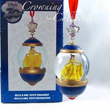 Disney Store 30th Anniversary Belle and Mrs. Potts Snow Globe Ornament Snowglobe