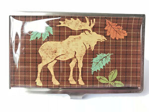 Metal Business Card/Money/Cigarettes Holder with Moose Fall Design