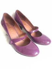 Ladies Office London Court Shoe Size 7 Purple Patent Leather Round Toe Heel
