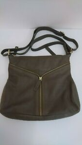 Women's Hotter Olive Green Crossbody Leather Bag With Adjustable Strap & Zip