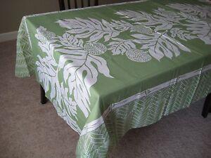 """Hawaiian Tropical Floral Fabric Tablecloth 60x84"""" Hawaii Red, Green, Brown, TEAL"""