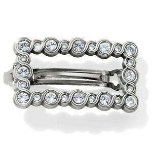 Brighton Silver Crystal Infinity Sparkle Small Barrette Hair Accessory New