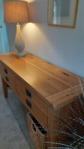 Solid oak hall console table/sideboard - large