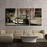 "Wall26 - Old Truck in Front of Old Barn - Canvas Wall Art - 16""x24""x3 Panels"