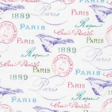 Robert Kaufman Paris in Bloom White 100% cotton Fabric by the yard