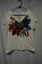 Tommy Hilfiger T Shirt Sz L White  Short Sleeve V-Neck Floral Pull Over Casual