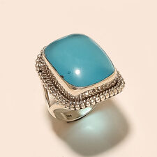 Natural Turkish Aqua Blue Chalcedony Ring 925 Sterling Silver Tribal Old Jewelry