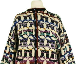 Vintage Hand Knitted Cardigan Large Multicolour Wool