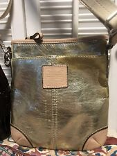 COACH Gold Metallic Slim Crossbody Swingpack Shoulder Handbag Small  Distressed 8e1e76fb75196