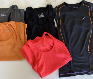 5 running shirts- mens Medium Muscle Tank Under Armour  CW-X top M Med black +