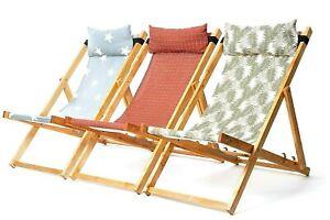 Folding Beech Wood Garden Deck Chair Beach Deckchairs Sun Lounger