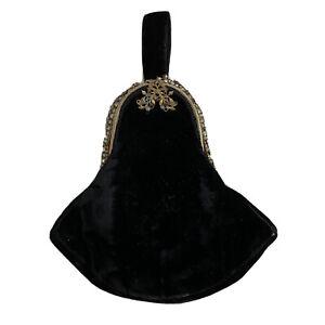Antique Vintage Black Velvet Evening Dance Bag Stones Need Attention