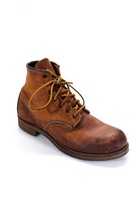 Red Wing Shoes Mens Leather Solid Lace Up Combat Work Boots Brown Size 10.5