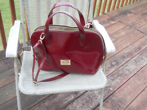 VALENTINA made in Italy Burgundy Leather Large Handbag/Dome Satchel