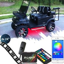 BLUE-TOOTH CONTROL 4PC LEDS GOLF CART KART LED UNDER GLOW NEON LIGHTS 12V SWITCH