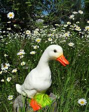 1-Gartenfigur-Ente-Erpel-weiß-bruchsicher-Garten-Teich-Wiese-Hühnerhof-29 cm