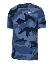 Nike Men's Shirt Blue Size Xl Camo Print Activewear Short Sleeve $25 #102