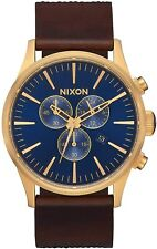 Nixon Men's Sentry Chrono A4053210-00 42mm Blue Dial Leather Watch