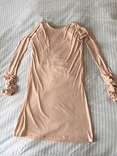 Gorgeous Couture Flesh Diamante Scoop Back Dress Size S