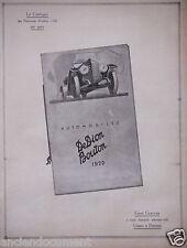 PUBLICITÉ 1919 AUTOMOBILES DEDION BOUTON 1920 - ADVERTISING