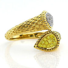 Real 0.32ct Natural Fancy Intense Yellow Diamonds Engagement Ring 18K Solid Gold