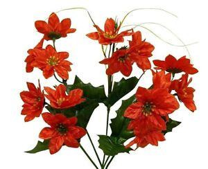 180 Mini Red Poinsettias Flowers Fake Miniature Silk Christmas Faux Artificial