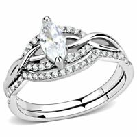 WOMEN'S MARQUISE CUT CZ STAINLESS STEEL ENGAGEMENT & WEDDING 2 RING SET
