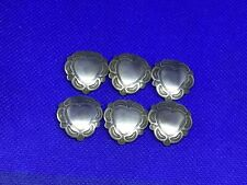 Vintage Set of 6 Silver Southwest Dedign Heart Shaped Button Covers
